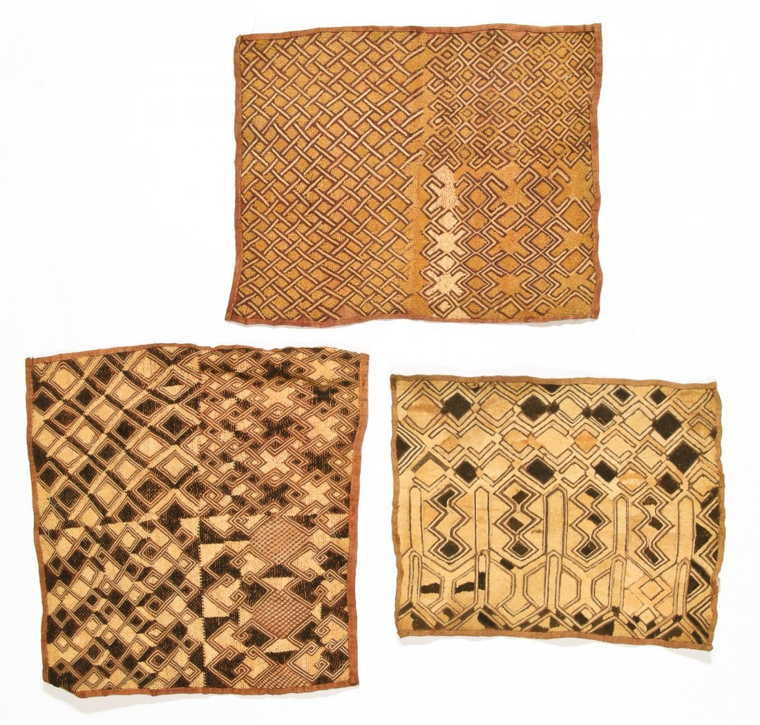 3 Kuba Raffia Embroideries, Early/Mid 20th C