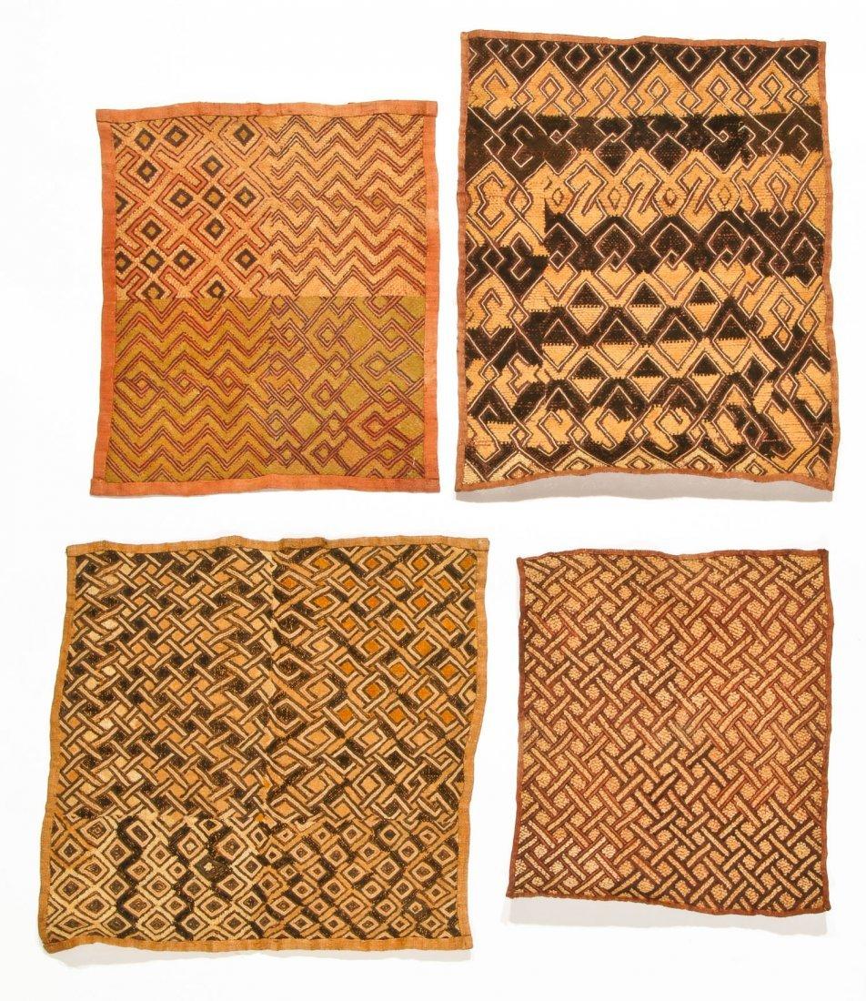 4 Kuba Raffia Embroideries, Early/Mid 20th C