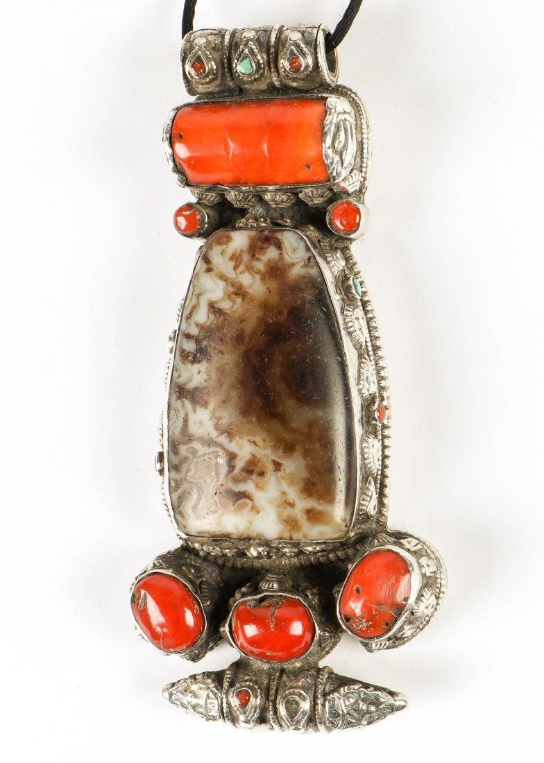 Tibetan Coral, Silver and Hardstone Pendant