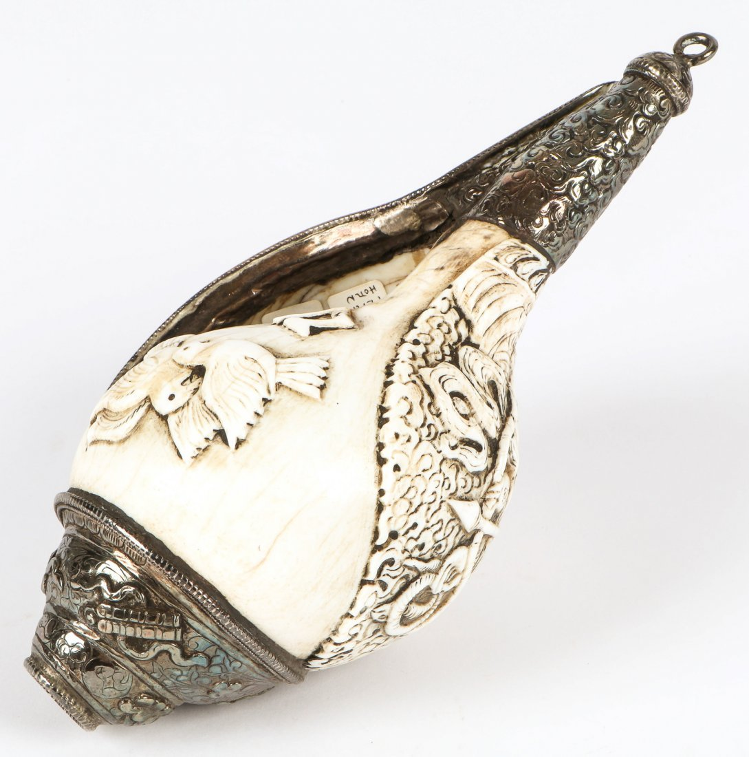 Tibetan Silver Mounted Carved Conch - 3