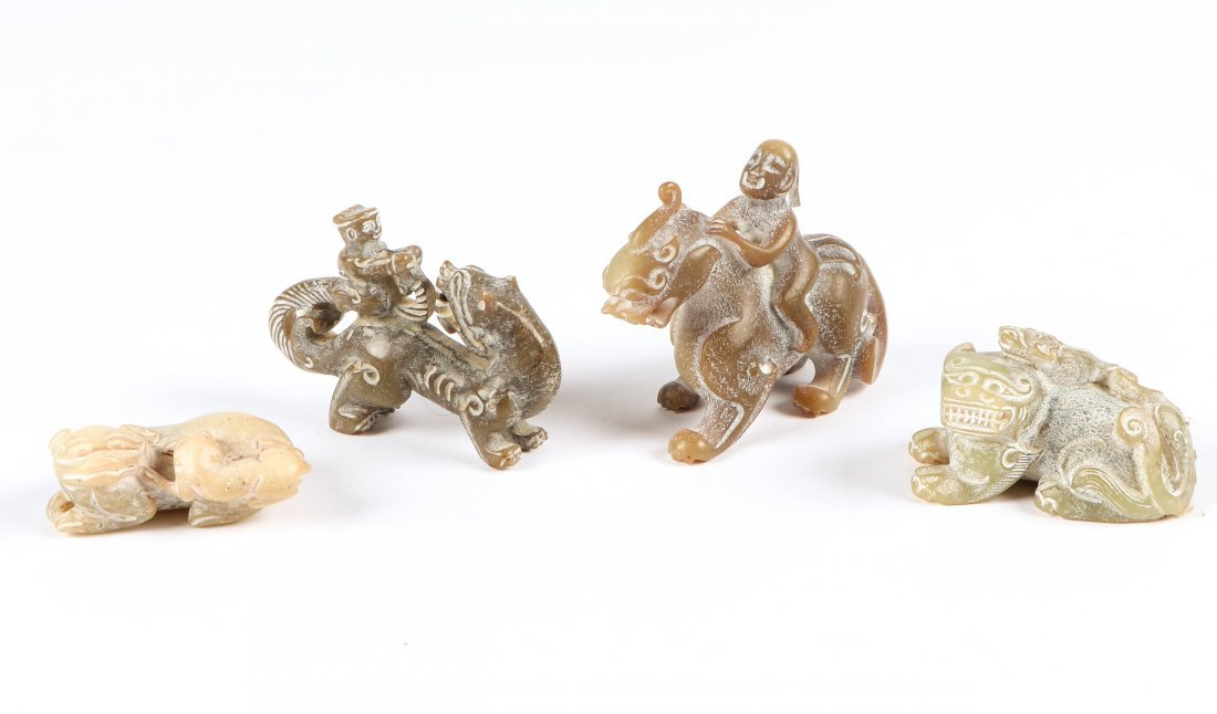 4 Chinese Archaic Jade/Hardstone Creatures