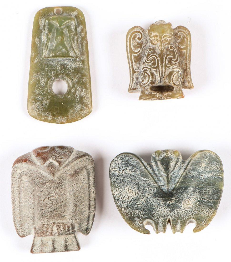 4 Chinese Archaic Jade/Hardstone Pendants