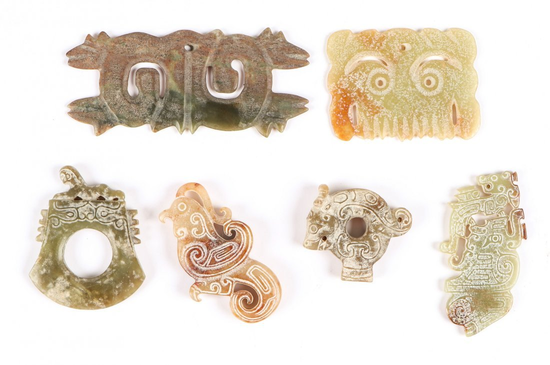 6 Chinese Archaic Jade/Hardstone Toggles and Pendants