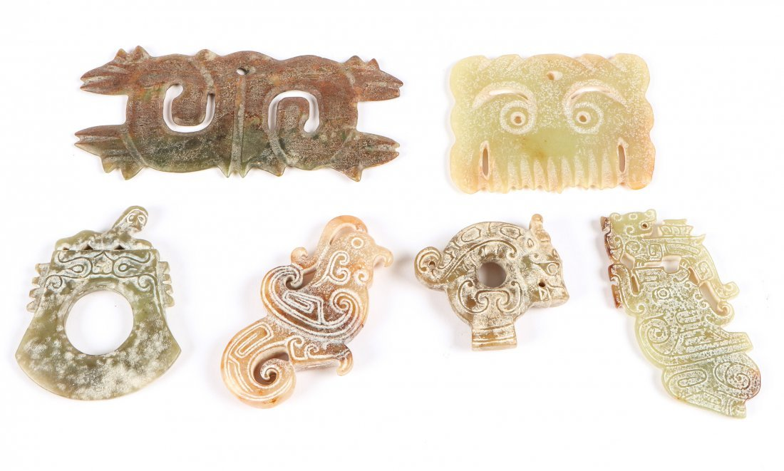 6 Chinese Archaic Jade/Hardstone Toggles and Pendants - 2