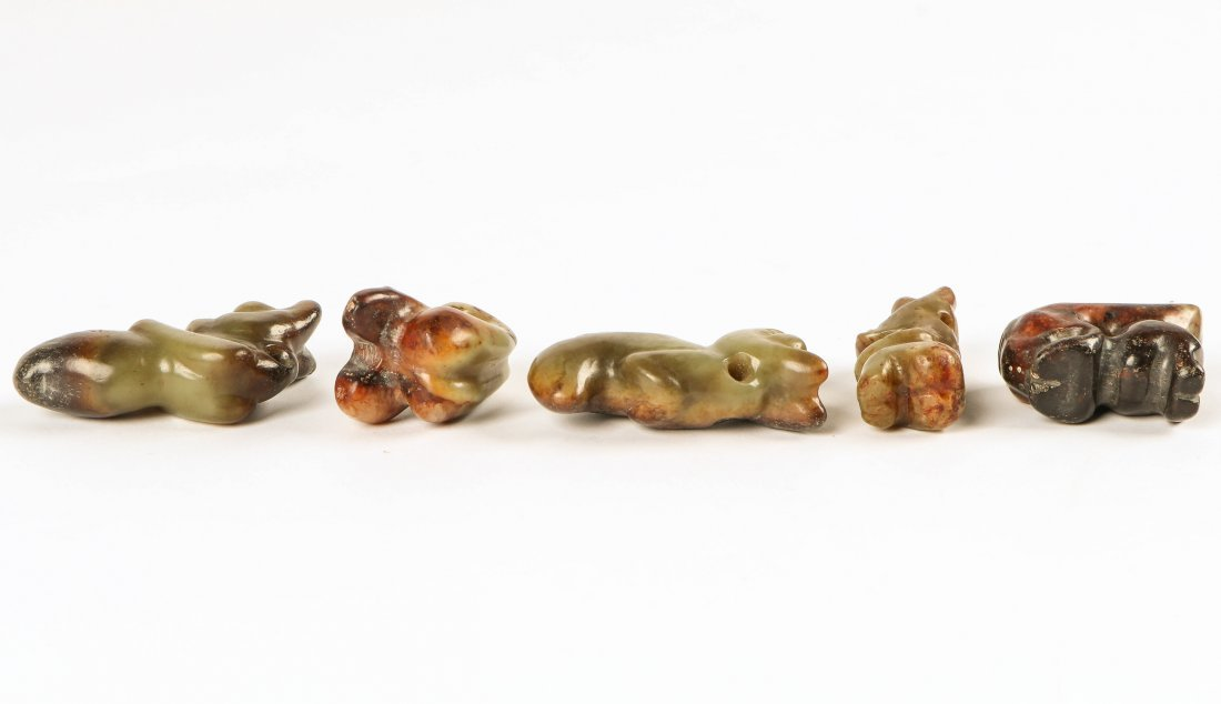 5 Chinese Archaic Jade/Hardstone Figural Toggles - 3