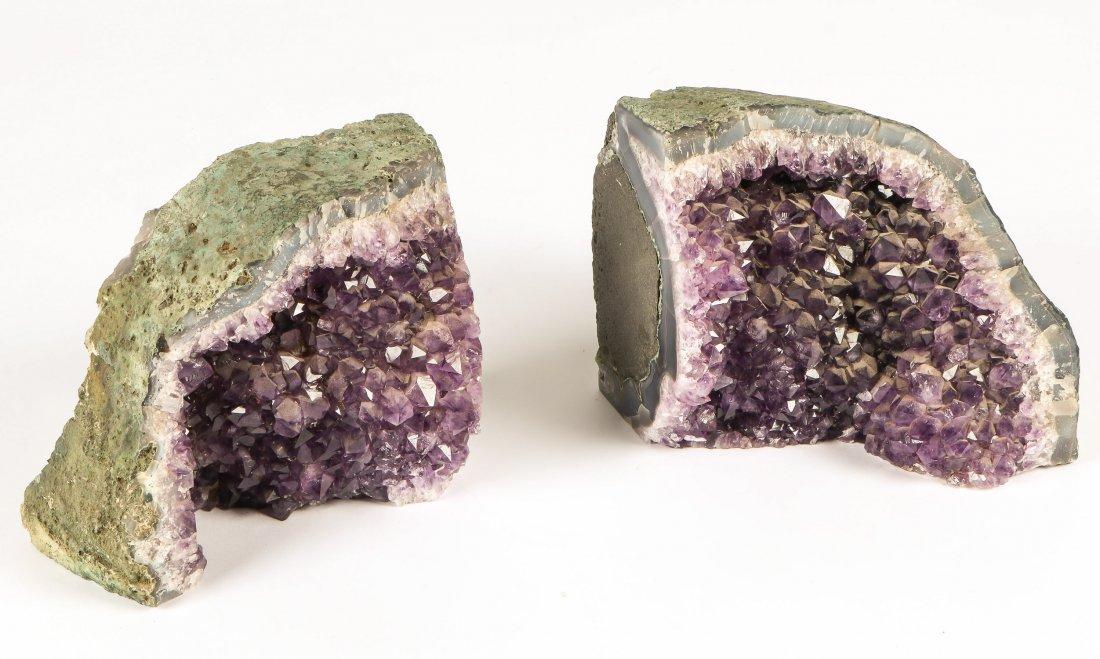 2 Geodes Amethyst Specimen Bookends