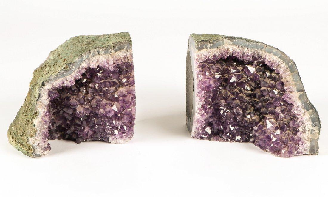 2 Geodes Amethyst Specimen Bookends - 2