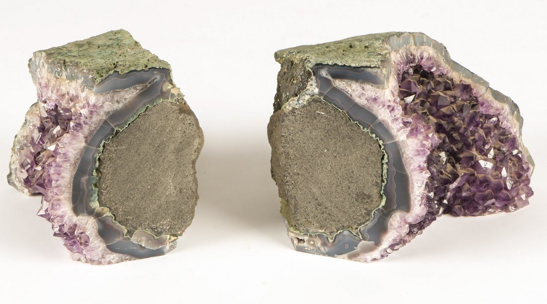 2 Geodes Amethyst Specimen Bookends - 3