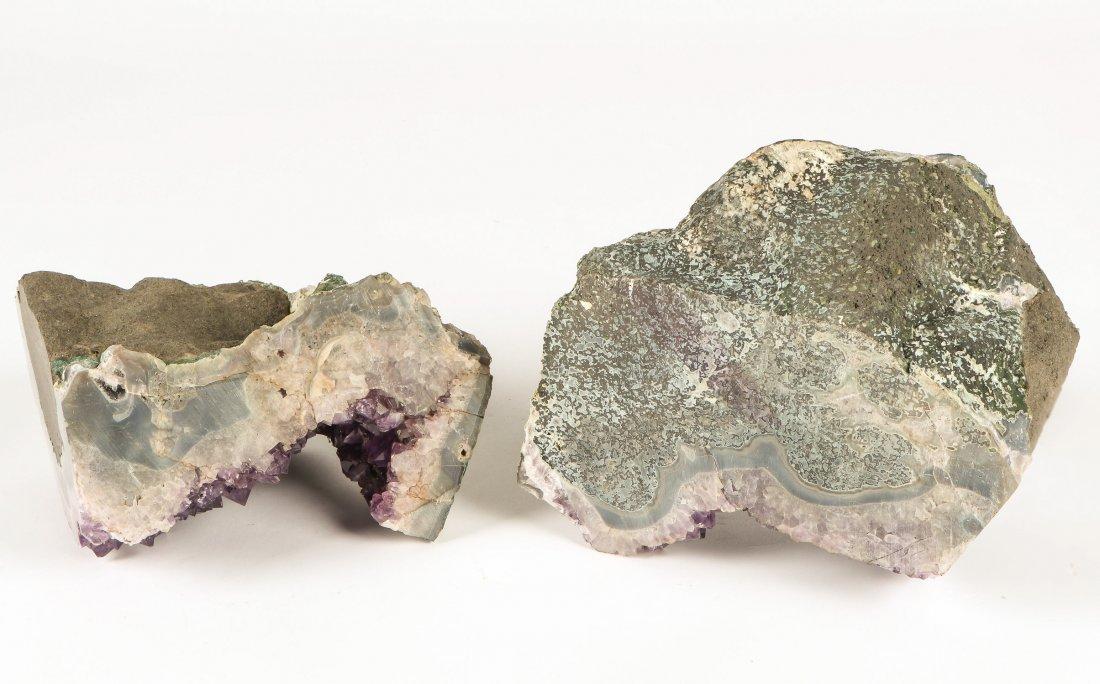 2 Geodes Amethyst Specimen Bookends - 4