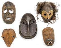 5 Mixed African Tribal Masks