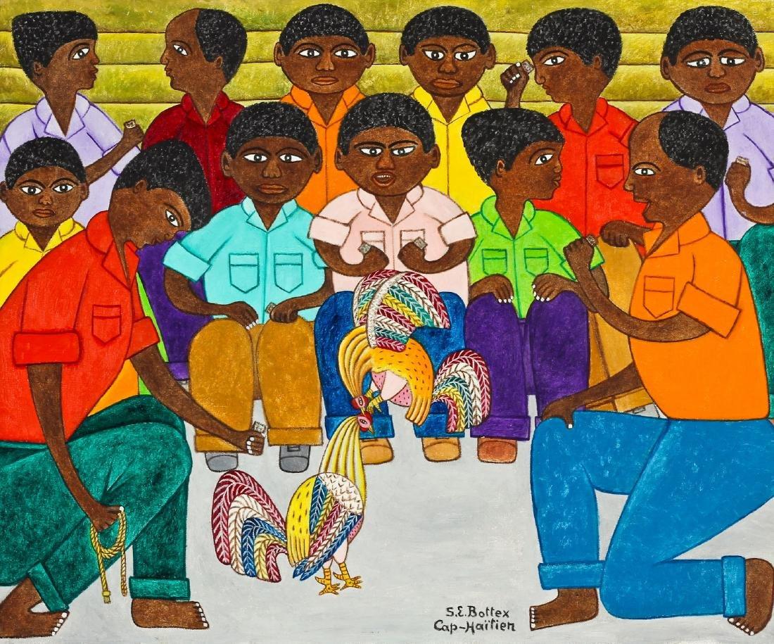 "Seymour Etienne Bottex (Haitian, 20th c.) ""Cock Fight"""
