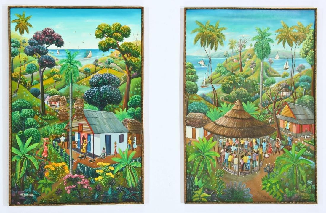 Jean David Boursiquot (Haitian) Two Paintings