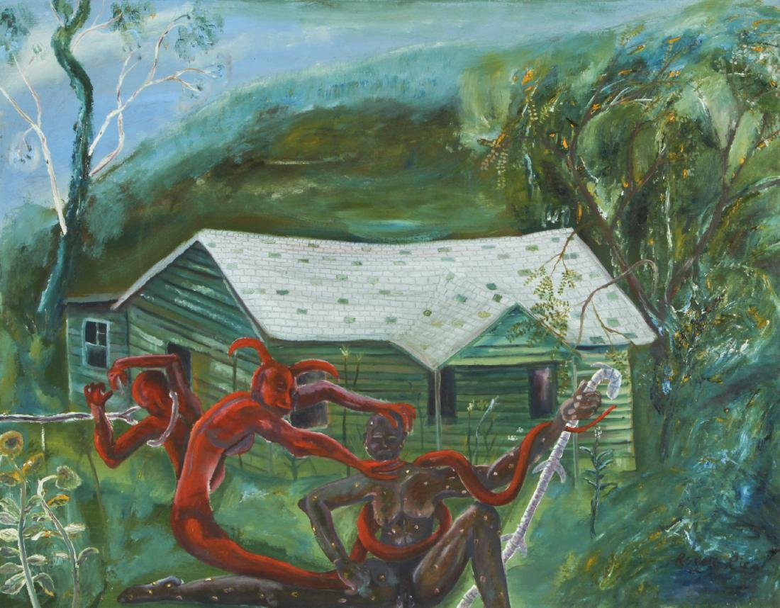 """Roger Rice (b. 1958) """"Satan Attacking Job"""", 1990"""