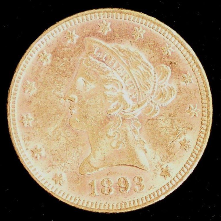 1A: 1893 US Liberty Eagle Ten Dollar $10 Gold Coin