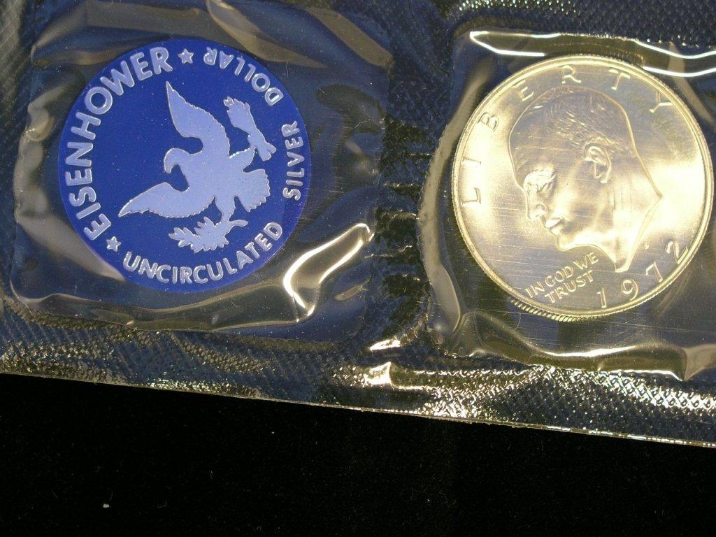 2: 1972 Eisenhower Dollar Unc. 40% Silver
