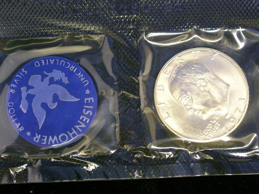 3: 1973 Eisenhower Dollar Unc. 40% Silver