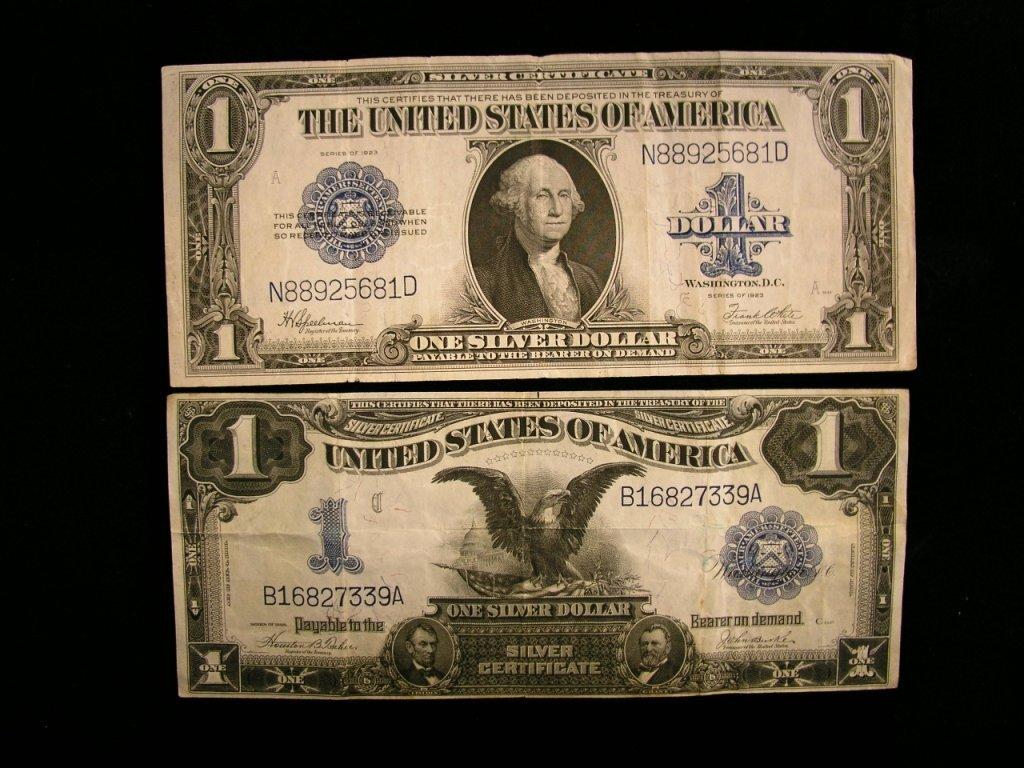 3A: Two $1 U.S. Silver Certificates 1899 & 1923