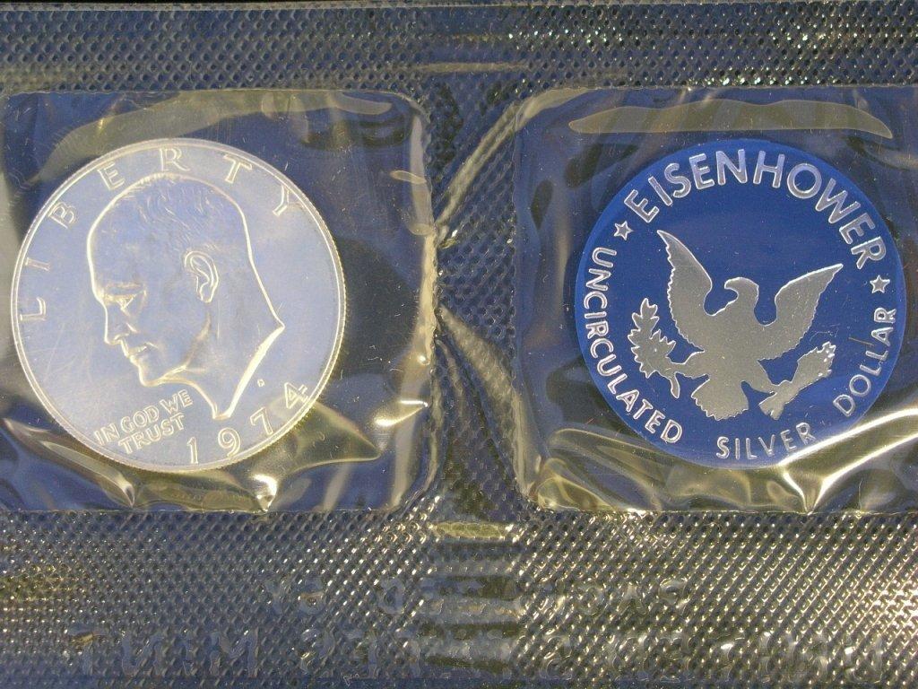 4: 1974 Eisenhower Dollar Unc. 40% Silver