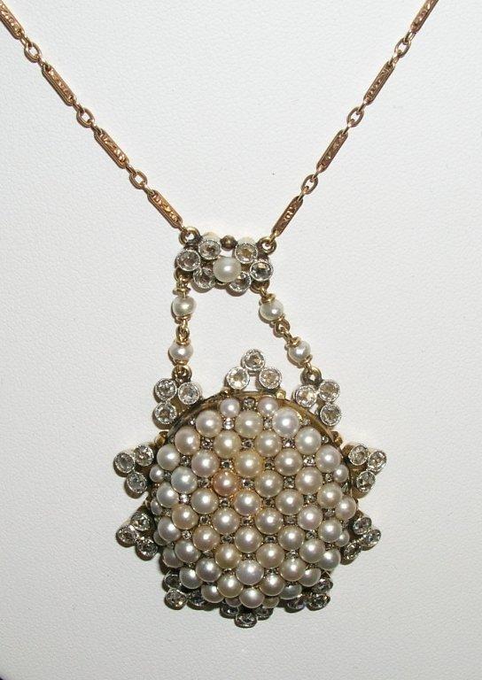 7A: 14k Rose Cut Diamonds & Pearl Necklace