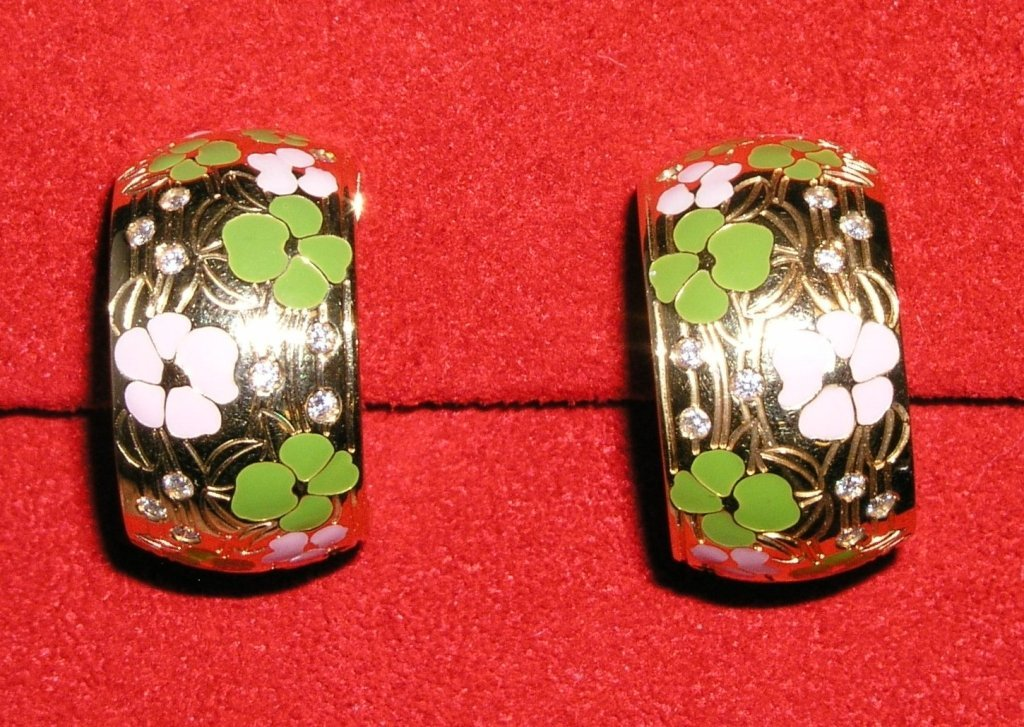 9A: 18k Enameled Design Earrings