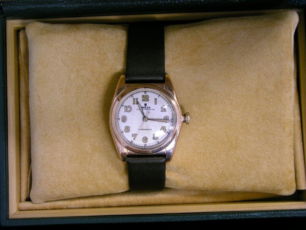 11A: 1949 Rolex Bubble Back Watch 14k Rose Gold