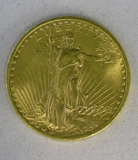 18: 1908 U.S. $20.00 St. Gaudens Gold Double Eagle Coin