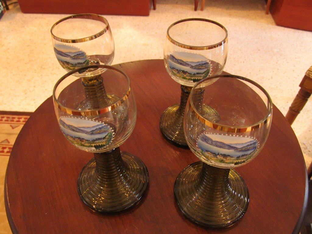 20C: 4 Germany Ribbed Crystal Glasses
