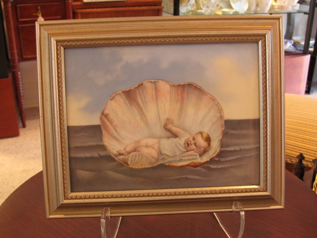 21C: T & V Limoges Placque- Baby in a Seashell