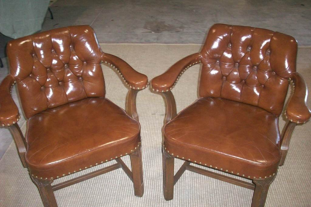 4R: Pair Herman Schlorman 1960s Leather Chairs