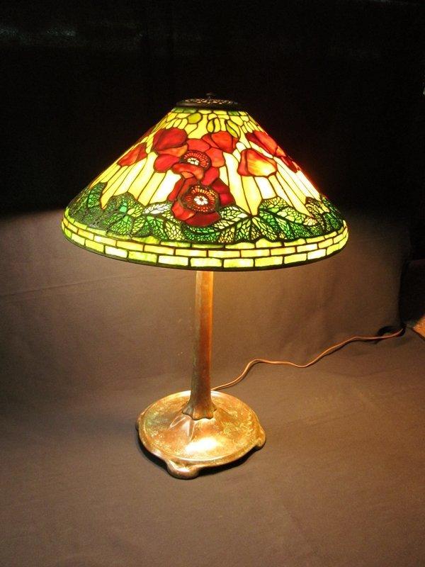 15: Tiffany Studios New York Poppy Leaded Glass Lamp