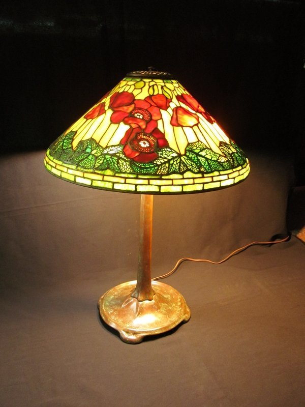 15: Tiffany Studios New York Poppy Leaded Glass Lamp