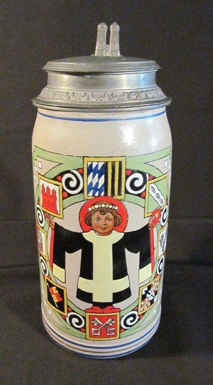 72: German Beer Stein c1919 Marked