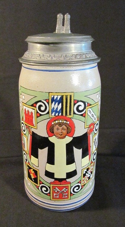 72: German Beer Stein c1919 Marked