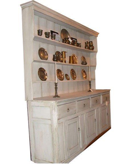11: 19th C. Irish Pine Pewter Cupboard