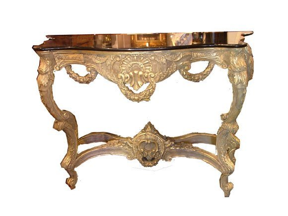 17: Louis XV Style Polychromed Gilt Wood and Marble Top