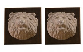 Pair Of Old Zinc Lion Heads
