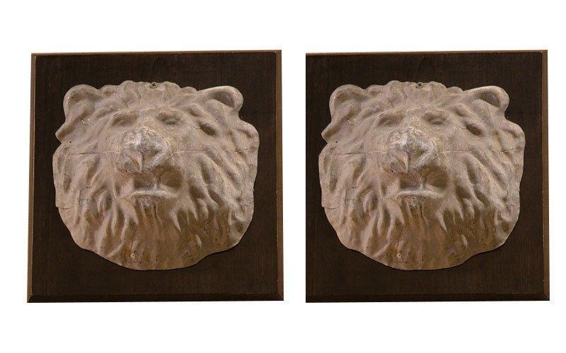 26: Pair of Old Zinc Lion Heads