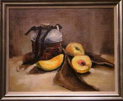 """33: Oil on Canvas """"Peaches and Pot"""""""