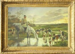 """34: Framed oil on canvas """"The Hunting Party"""" Contempora"""