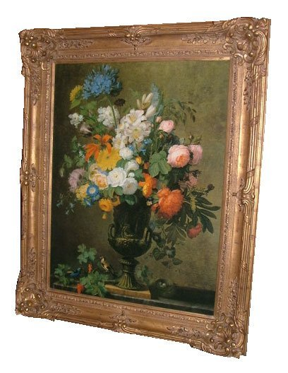 35: 20th C. Large Floral Oil on Canvas