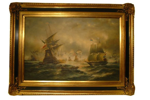 36: Dramatic Oil on Canvas of Naval Scenes Stylized Dep
