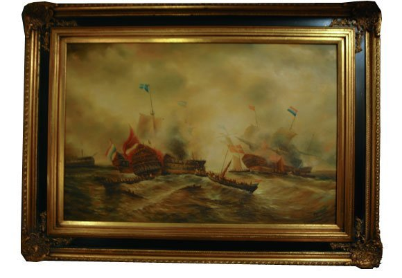 37: Dramatic Oil on Canvas of Naval Scenes Stylized Dep