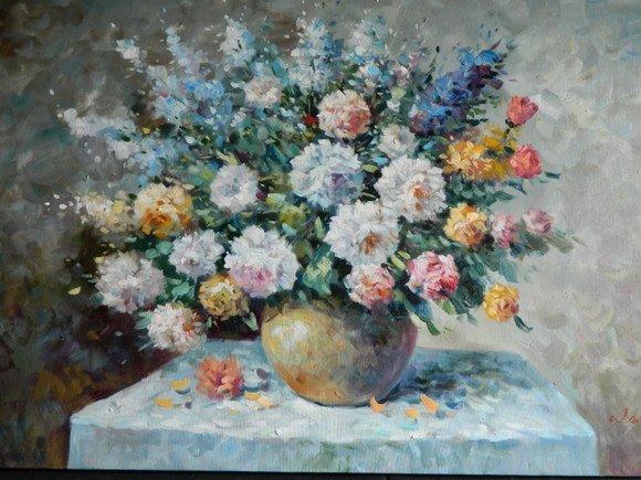 39: Dutch Style Floral Oil on Canvas