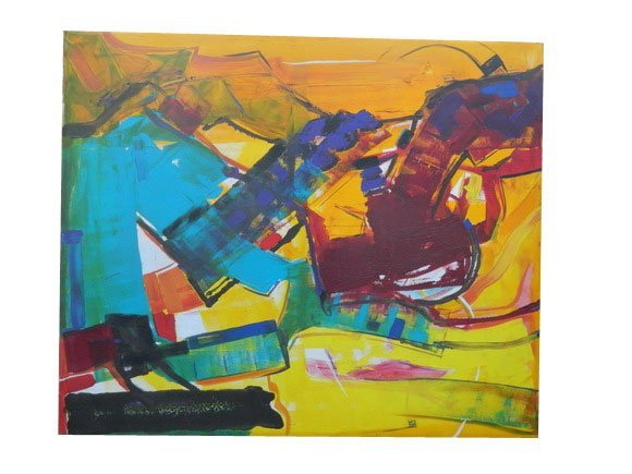 42: Large Size Abstract Contemporary Oil On Canvas in t