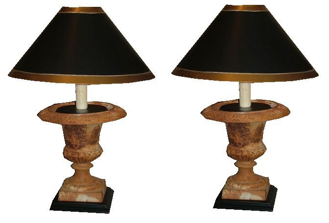 99: Pair of Late 19th C. Iron Urns as Lamps