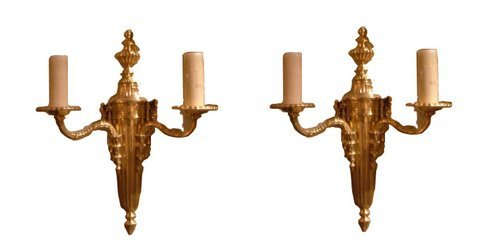 110: Pair of 24K Gold Plated Empire Sconces