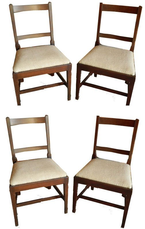 115: 19th C. Set of Four Mahogany Side Chairs