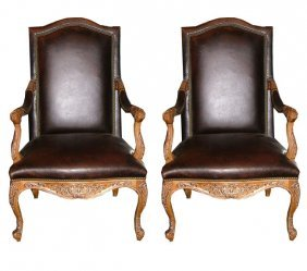 20th C. French Walnut Arm Chairs