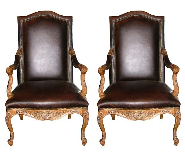 119: 20th C. French Walnut Arm Chairs