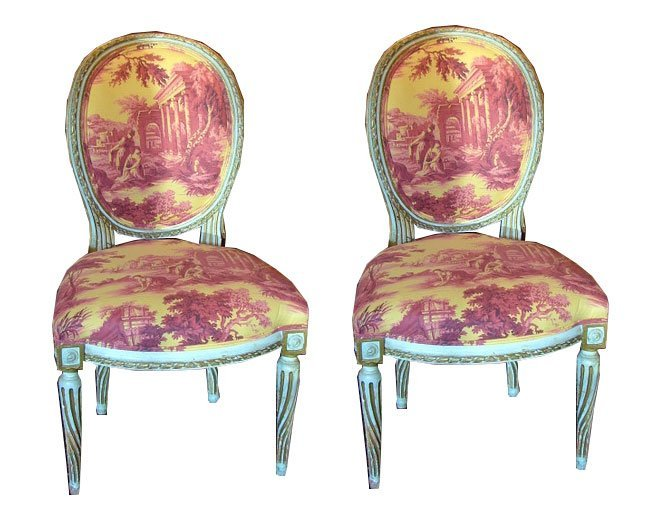 120: Pair of Louis XVI Style Painted Chairs - Sister Pa